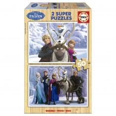 Puzzle 2 x 50 pièces en bois : La Reine des Neiges (Frozen)