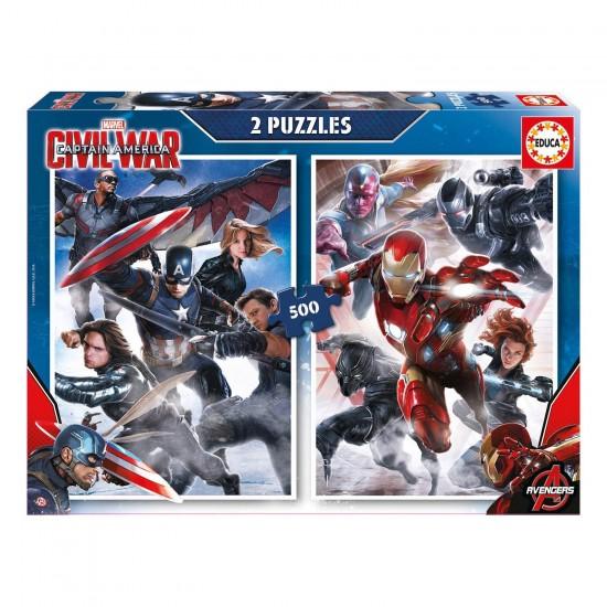 Puzzle 2 x 500 pièces : Captain America, Civil War - Educa-16702