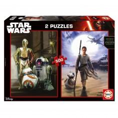 Puzzle 2 x 500 pièces : Star Wars épisode VII