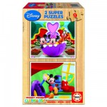 Puzzle 2 x 9 pièces en bois - Le club de Mickey