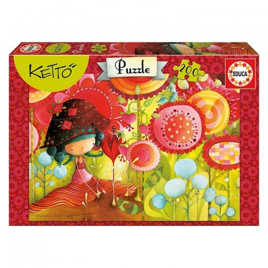 Puzzle 200 pièces : La jungle des fleurs, Ketto - Educa-16813