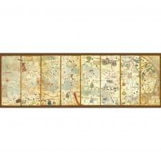 Puzzle 3000 pièces panoramique : Carte du monde 1375 : Cresques Abraham