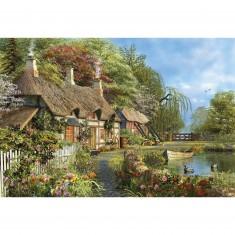 Puzzle 4000 pièces : Chaumière fleurie au bord de l'eau