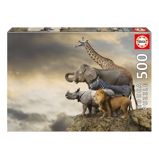 Puzzle 500 pièces : Animaux au bord de la falaise - Educa-16737