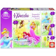 Puzzle de 12 à 25 pièces - 4 puzzles : Princesses Disney
