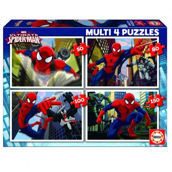 Puzzle de 50 à 150 pièces : 4 puzzles : Ultimate Spider-Man - Educa-15642