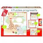 Puzzle de 6 à 16 pièces : 4 puzzles : Sophie la Girafe