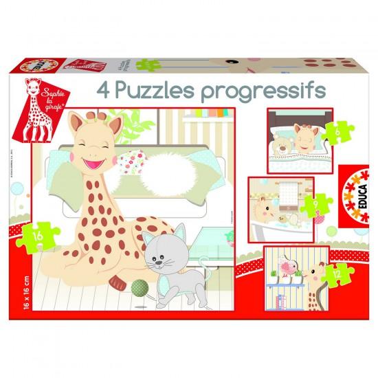 Puzzle de 6 à 16 pièces : 4 puzzles : Sophie la Girafe - Educa-15491
