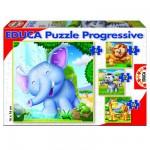 Puzzle de 6 à 16 pièces - 4 puzzles : Animaux sauvages