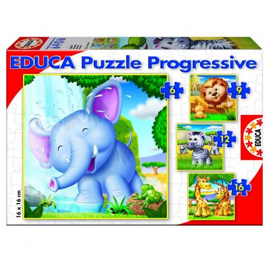 Puzzle de 6 à 16 pièces - 4 puzzles : Animaux sauvages - Educa-15619