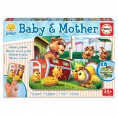 Puzzle éducatif 6 x 2 pièces : Les animaux de la ferme : Bébés et mamans