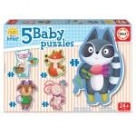 Puzzle évolutif de 3 à 5 pièces : Baby puzzle : Les animaux de la forêt