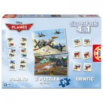 Superpack 4 en 1 Planes : Mémory, puzzles et Domino