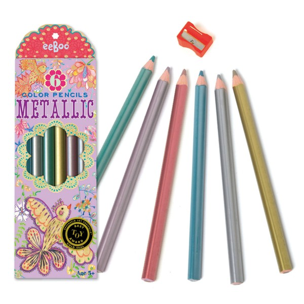 Crayons métalliques : Oiseaux d'or - Eeboo-9644401