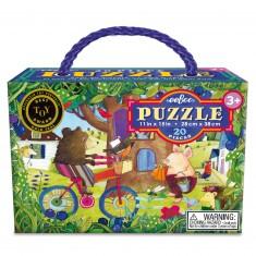 Puzzle 20 pièces : Ours à vélo