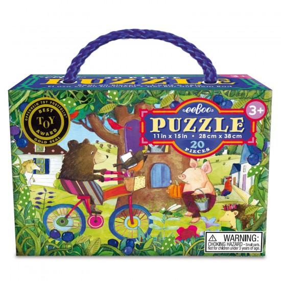 Puzzle 20 pièces : Ours à vélo - Eeboo-9650432