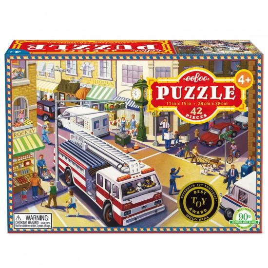 Puzzle 42 pièces : Camion de pompiers - Eeboo-9650436