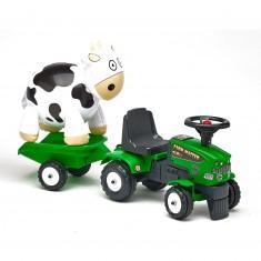 Porteur tracteur Baby Farm Mustang 350S avec remorque et vache