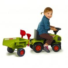Porteur tracteur Claas Axos + remorque + pelle et râteau
