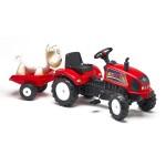 Tracteur à pédales FarmTrac rouge avec remorque et mouton