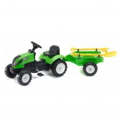 Tracteur Garden Master vert avec remorque, pelle et râteau