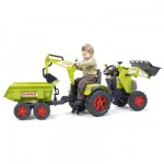 Tracteur Tractopelle excavatrice Claas Axos à pédales + Pelle + Remorque