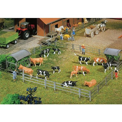 Modélisme HO : Accessoires de décor : Systèmes de clôture pour stalles et ferme de stabulation libre - Faller-180434