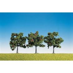Modélisme : Végétation : 3 pommiers avec fruits