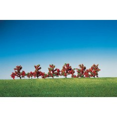 Modélisme : Végétation : 6 buissons à fleurs rouges