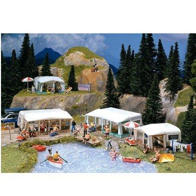Modélisme HO : Accessoires de décor : Kit de caravanes de camping - Faller-130503