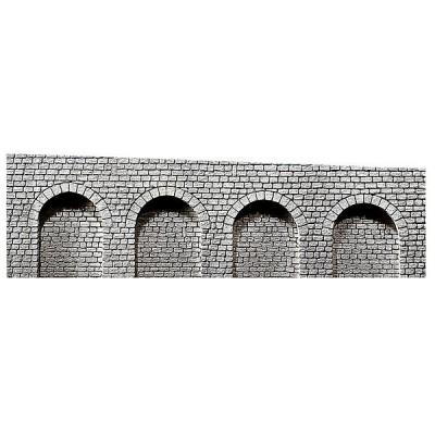 Modélisme HO : Dalle décorative : 4 arcades avec rampe vers la gauche - Faller-170840