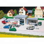 Modélisme HO : Station-service avec station de lavage