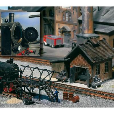 Modélisme ferroviaire HO : Maison à compresseur et accessoires - Faller-120139