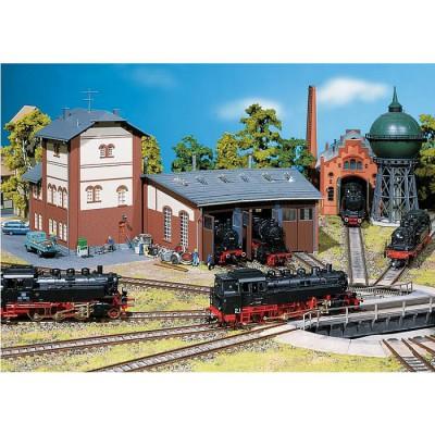 Modélisme ferroviaire HO : Rotonde à locomotive - 3 emplacements - Faller-120176