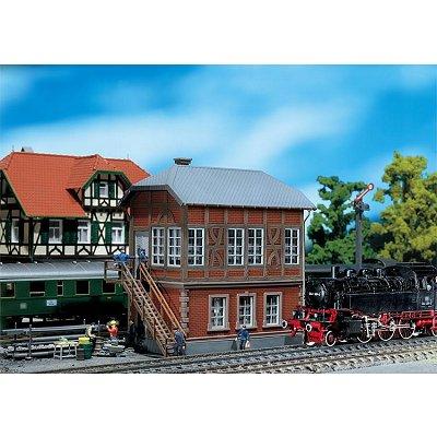 Modélisme ferroviaire HO : Poste d'aiguillage - construction en brique - Faller-120121