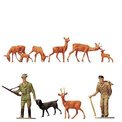 Modélisme HO : Figurines : Set chasseur, bûcheron, chevreuils - Faller-151024