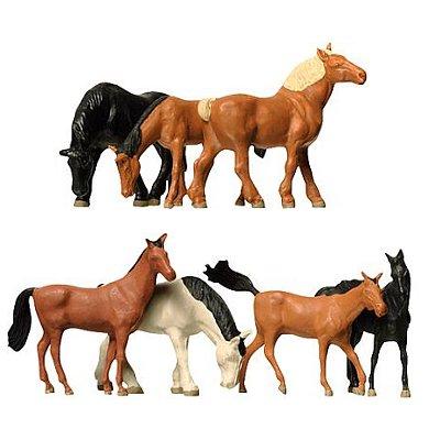 Modélisme HO : Figurines : Set chevaux lourds et demi-sang - Faller-154005