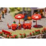 Modélisme HO : Accessoires de décor : Parasols, tables, bancs