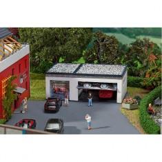 Modélisme HO : Garage double avec pièces de commande