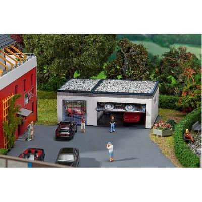 Modélisme HO : Garage double avec pièces de commande - Faller-130319