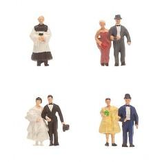 Modélisme N : Figurines : Mariés avec pasteur