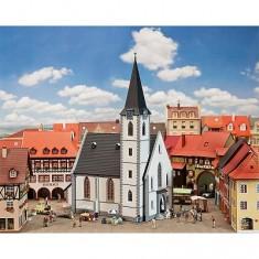 Modélisme HO: Église de petite ville blanche