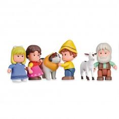 Coffret de figurrines Heidi : 4 personnages et 2 animaux