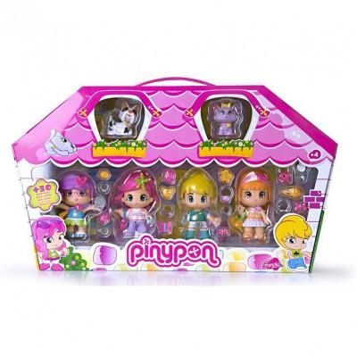 Poupées 7 cm Pinypon : 4 poupées et 2 animaux de compagnie : Boîte rose - Famosa-700008152-1
