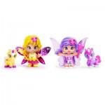Poupées 7 cm Pinypon : Coffret 2 figurines fées et leurs animaux