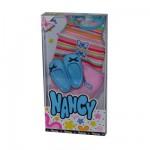 Vêtements pour poupée Nancy : Débardeur rayé, short rose et chaussures bleues