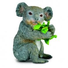 Figurine Koala avec feuilles d'eucalyptus