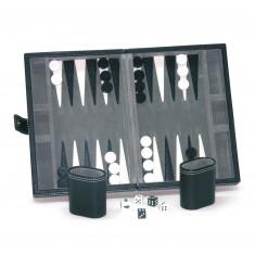 Backgammon façon cuir Noir