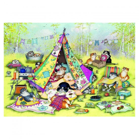 Puzzle 1000 pièces : Linda Jane Smith : Les chats en camping - Gibsons-G6187