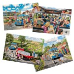 Puzzle 4 x 500 pièces : Bus de campagne